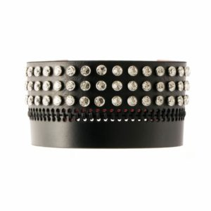 Bianca Choker in black leather with 3 horizontal rows of Swarovski crystals and visible topstitching of 0770 at Brigade Mondaine