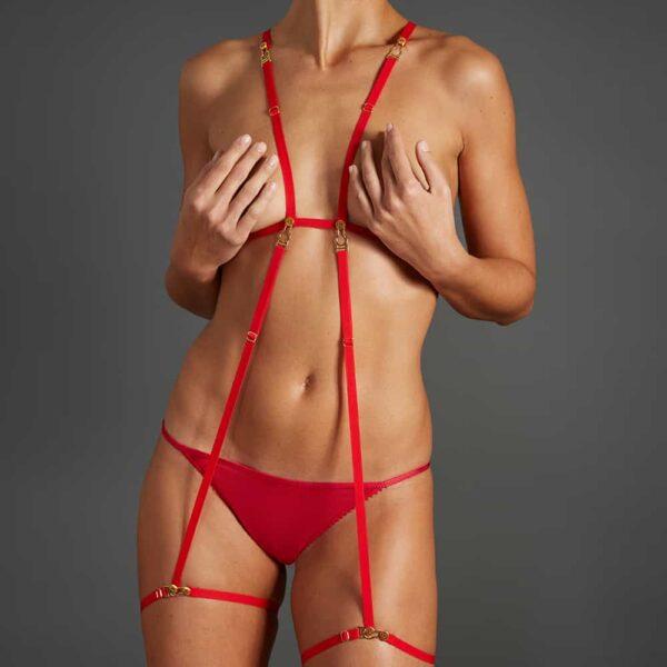 Kit rendez-vous rouge d'élastiques ajustables et modulables par Atelier Amour chez Brigade Mondaine