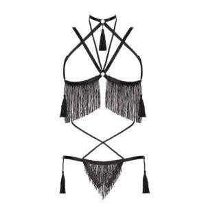 Costume de roleplay noir avec string et soutien-gorge ouvert et franges noires fines et pompoms BAED STORIES chez Brigade Mondaine