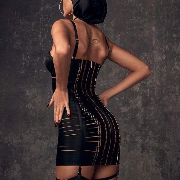 Robe ajustable en élastique noir sexy bondage avec fermeture éclair à l'arrière par BORDELLE chez Brigade Mondaine