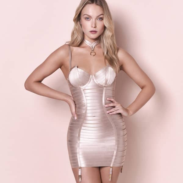 Adjustable corset dress with satin elastic in caramel color and golden straps and details and suspender belt BORDELLE at Brigade Mondaine