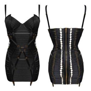 Регулируемое черное атласное эластичное бондажное платье с золотыми деталями и галстуками и подвесным ремнем BORDELLE на 1ТП5Т.