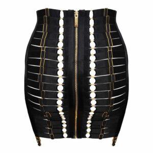 Черная атласная эластичная юбка-корсет с золотой застежкой-молнией и подтяжкой BORDELLE на Brigade Mondaine