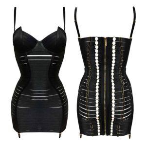 Регулируемое черное эластичное сексуальное платье с застежкой-молнией на l' обратно BORDELLE на Brigade Mondaine