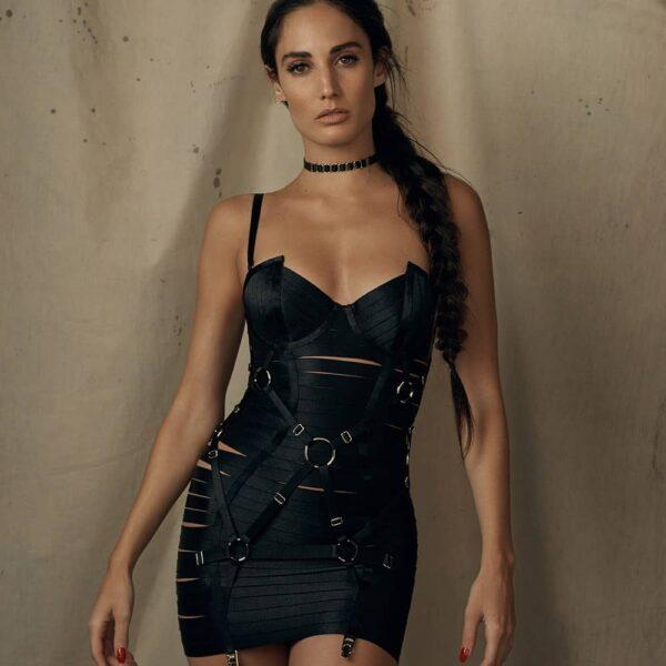 Robe noir Bordelle Angela nouvelle version ajustable devant