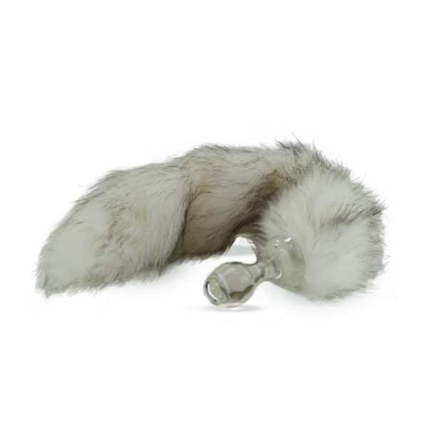 Plug en verre chirurgical transparent avec queue husky de Crystal Delight chez Brigade Mondaine