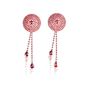 Red crystal nipple cap with pendants by ELF ZHOU at Brigade Mondaine