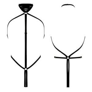 Black geometric elastic body harness in thong by ELF ZHOU LONDON at Brigade Mondaine