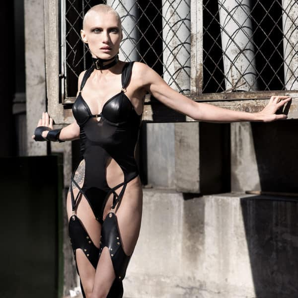 Liquorice Body all leather all elastic at l'back of the brand ELF ZHOU LONDON at Brigade Mondaine