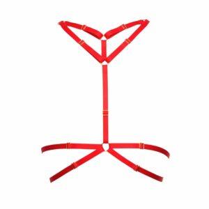 Harnais bondage bustier avec 2 rangs a la taille et deux au cou rouge en élastiques ajustables et anneaux finitions dorées par Flash You And Me chez Brigade Mondaine