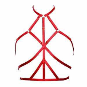 red Ruby elastic neck sling with bondage strapless waistband by Flash You and Me at Brigade Mondaine