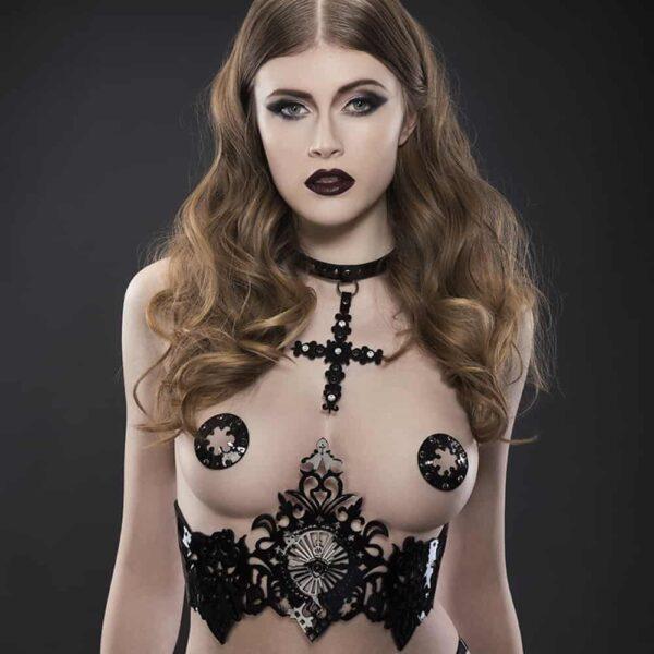 Harnais sous-poitrine noir en cuir vernis Original Sin Nero par FRAULEIN KINK chez Brigade Mondaine
