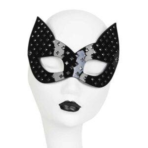 Masque chat noir en cuir vernis perforé de croix Original Sin Nero par FRAULEIN KINK chez Brigade Mondaine