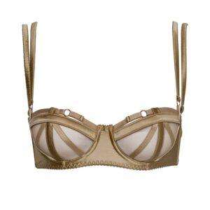 Domenica golden satin bra with geometric elastics at the bust and black satin elastics by Gonzales Affaires at Brigade Mondaine