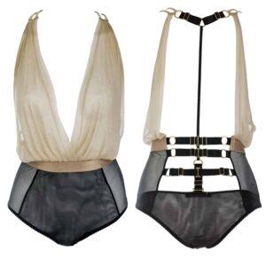 Soft beige silk halter bodysuit and tight black mesh panties at the waist GONZALES AFFAIRES chez Brigade Mondaine