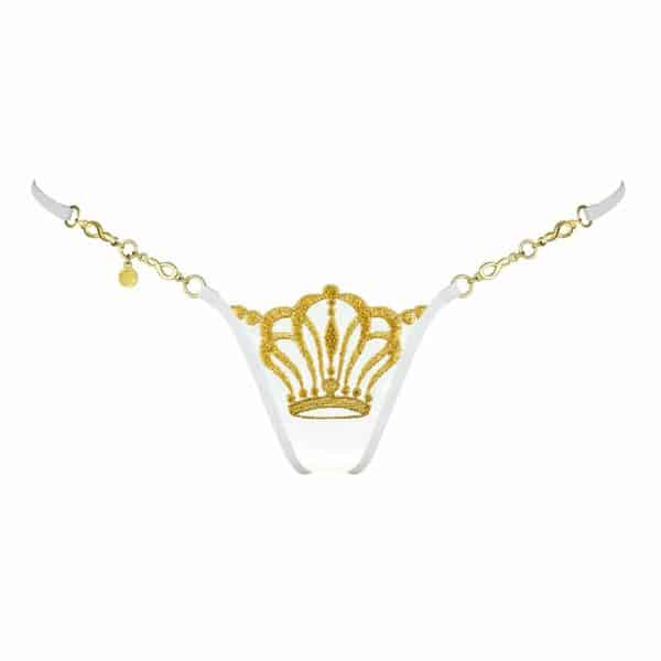 Ivory lace g-string with gold crown by Lucky Cheeks at Brigade Mondaine
