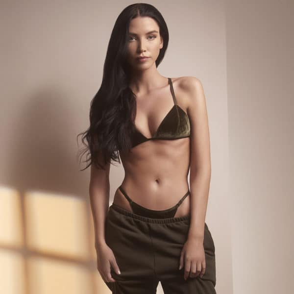 Khaki all velvet set with g-string and triangle bra by OW INTIMATES