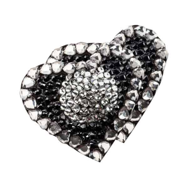 Nippies strass heart d'black and silver onyx by Ruth Melbourne at Brigade Mondaine