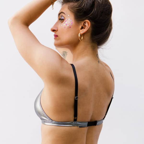 Triangle bra Queen in silver lurex by SUPERBE at Brigade Mondaine