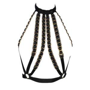Симона черный чокер без бретелек ремни с эластичными лентами и регулируемыми золотыми кольцами Модель Предатель на Brigade Mondaine