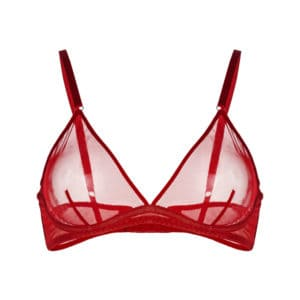 Soft underwire bra without underwire in transparent mesh red ZHILYOVA at Brigade Mondaine