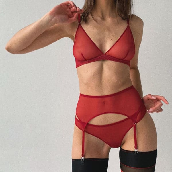 Red transparent mesh lingerie set with thong, garter belt and soft bra ZHILYOVA at Brigade Mondaine