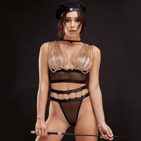 Roleplay costume string black fishnet and gold chains covering the breasts BAED STORIES at Brigade Mondaine