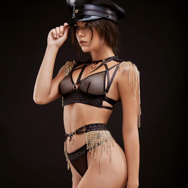 Roleplay Custome with string and belt and triangle bra in fishnet and satin crossed with epaulets and golden chains BAED STORIES at Brigade Mondaine