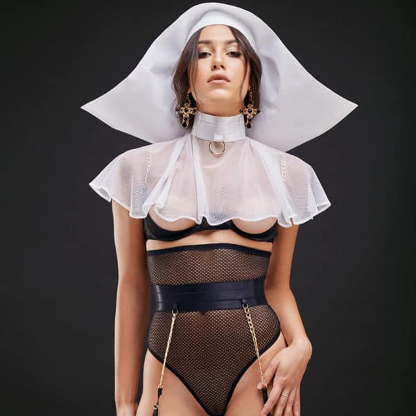 Roleplay nun costume with high waist thong, suspender belt and open bra with white cornet BAED STORIES at Brigade Mondaine