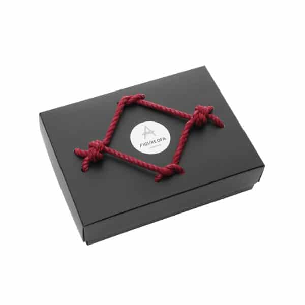 Cardboard box with shibari knot on top Figure of A at Brigade Mondaine