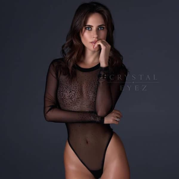 Long sleeve black mesh bodysuit encrusted with black Swarovski crystals Crystal Eyez at Brigade Mondaine