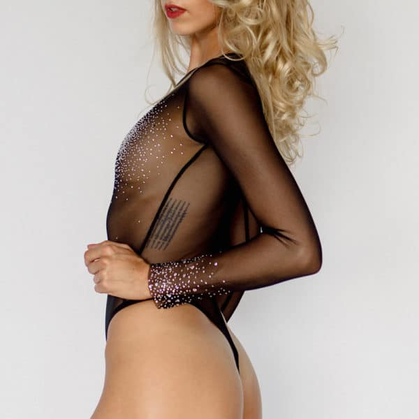 Black long sleeve mesh bodysuit with Swarovski inlay CRYSTAL EYEZ at Brigade Mondaine