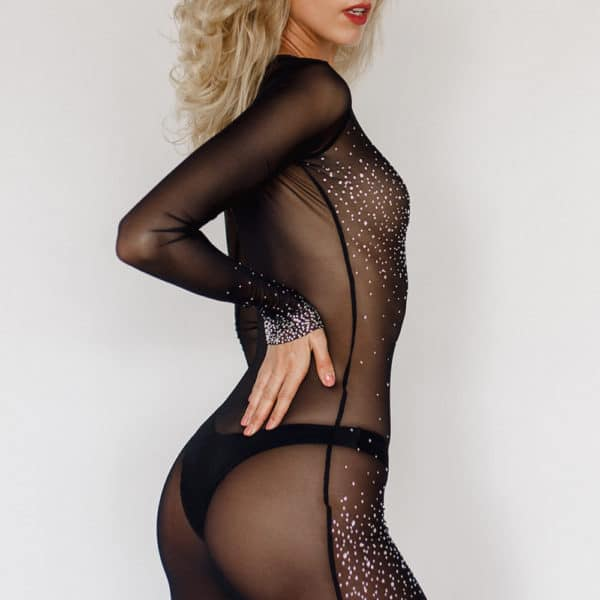 Black mesh dress with long sleeves inlaid with Swarovski Crystal Eyez at Brigade Mondaine