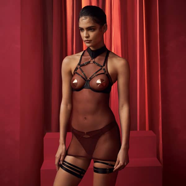 Dress, open bra and garters, Merida collection by Bordelle, on Brigade Mondaine