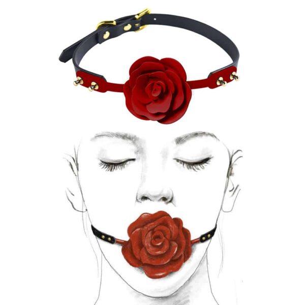 Ball gag avec rose rouge détachable en silicone, accessoire de bondage de luxe ZALO chez Brigade Mondaine