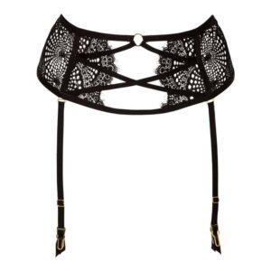 Porte-jarretelle en dentelle noire avec croisé sur le ventre Atelier Amour Collection Madame Rêve chez Brigade Mondaine
