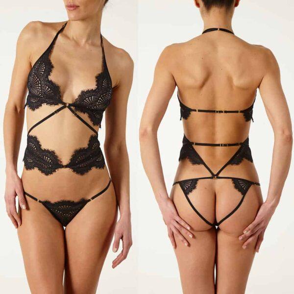 Body Madame Rêve en dentelle noire avec liens dans le dos et culotte ouverte et ceinture autour de la taille Atelier Amour chez Brigade Mondaine