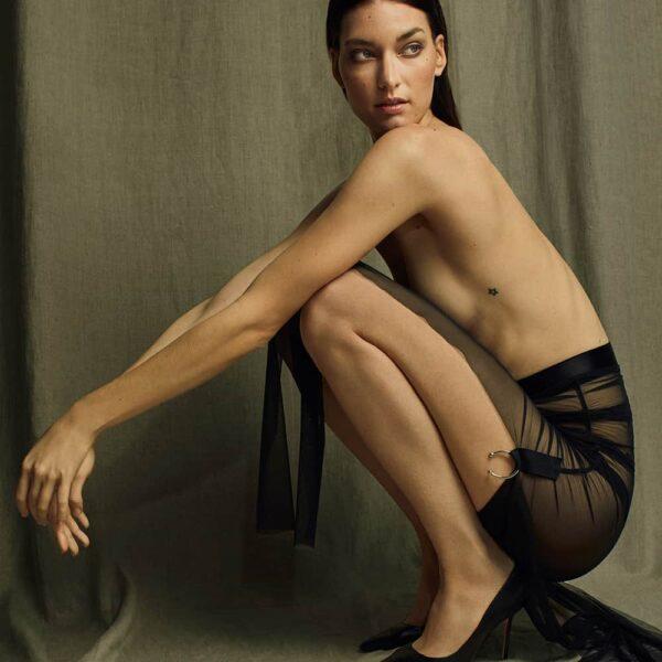 Jupe en tulle noir plissé et lurex élastiqué fait à la main par Carmen GONZALES chez Brigade Mondaine