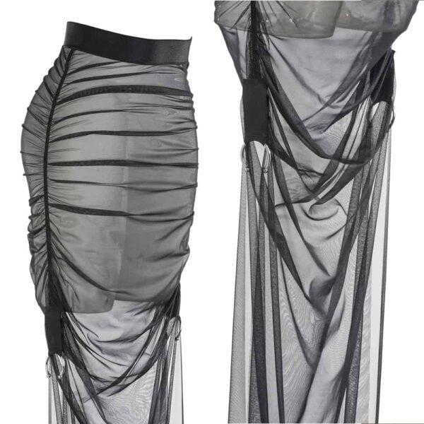 Tul plisado negro y falda de lurex elástica hecha a mano por Carmen GONZALES en Brigade Mondaine