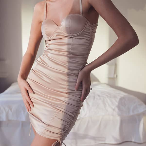 Fitted nude satin lingerie dress with bare back OW INTIMATES at Brigade Mondaine