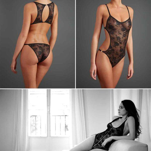 Body en dentelle noire dos ouvert et détachable Collection Irrésistible attraction de ATELIER AMOUR