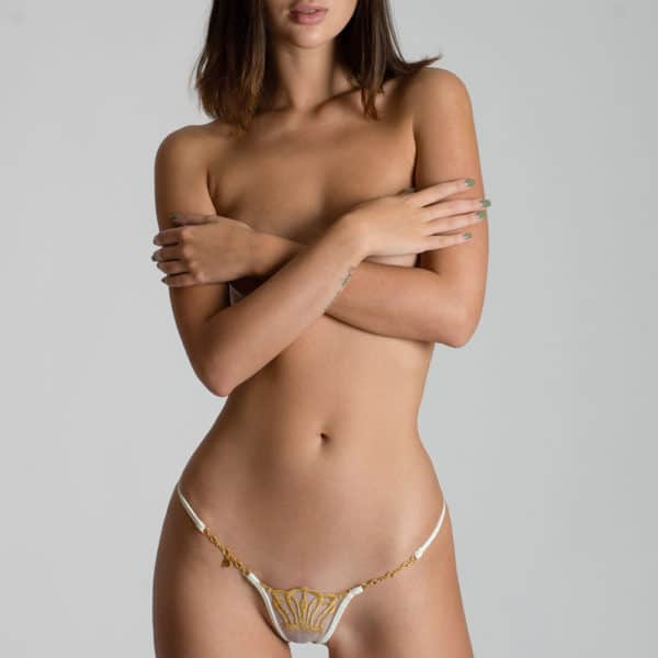 Golden jewel g-string made of mesh and golden lace with crown motif Lucky Cheeks at Brigade Mondaine