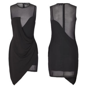Black JOSY dress with semi-transparent legs, bust and back by OW INTIMATES at BRIGADE MONDAINE