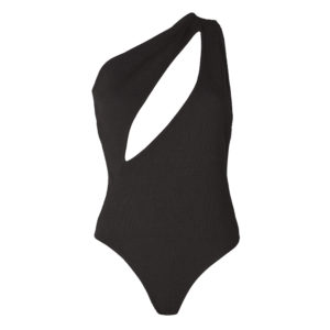 Black NADINE bodysuit with oval opening at the chest, sleeveless by OW INTIMATES at BRIGADE MONDAINE