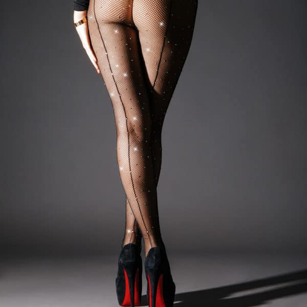 Fishnet tights with back stitching and Swarovski crystals