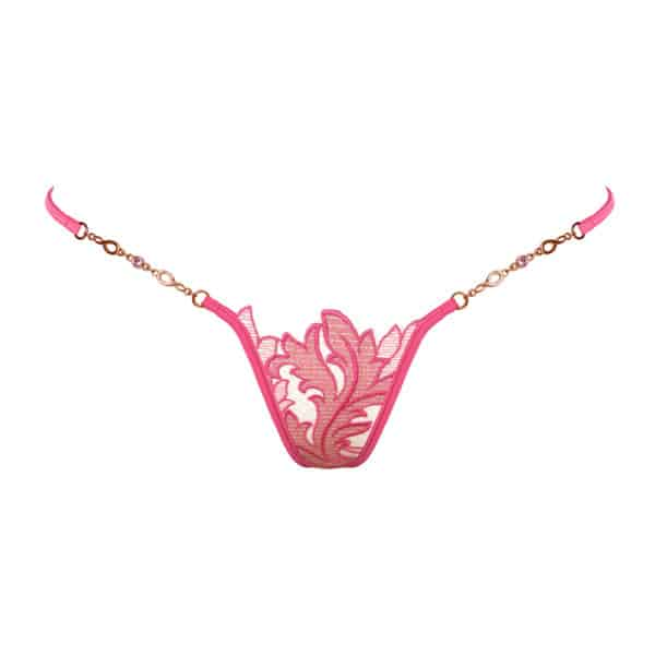 Golden g-string made of black mesh and pink lace with Lucky Cheeks flower motif at Brigade Mondaine