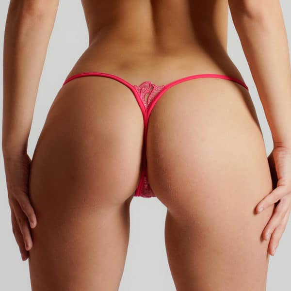 Golden g-string made of pink mesh and pink lace with Lucky Cheeks flower motif at Brigade Mondaine
