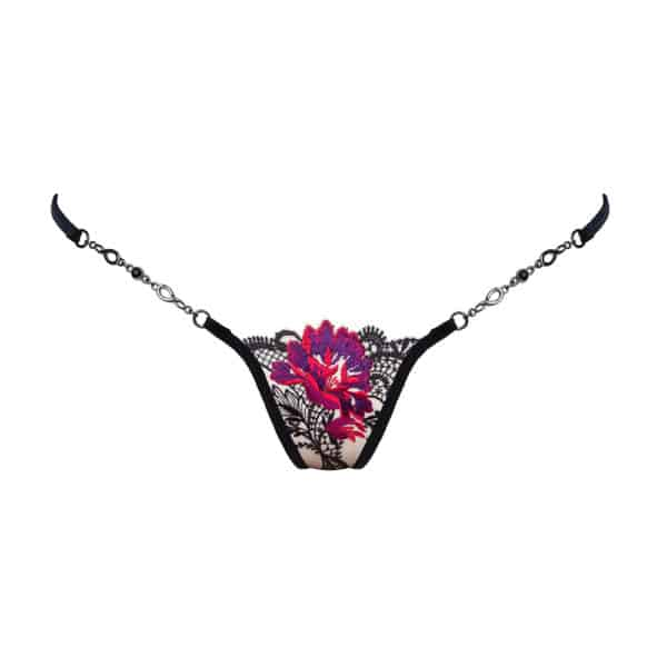 Silver jewel g-string made of flesh-colored mesh and black lace with purple and red flower motif Lucky Cheeks at Brigade Mondaine