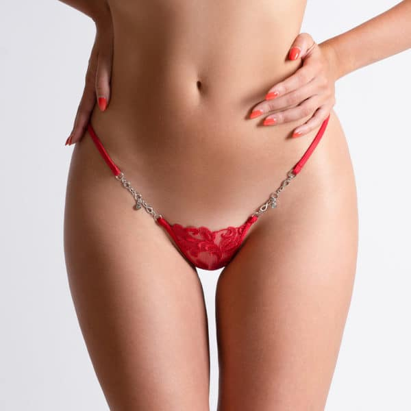 Silver jewel g-string made of mesh and red lace with Lucky Cheeks flower motif at Brigade Mondaine