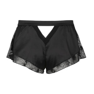 Black satin and lace shorty made in France not worn seen from the back on a white background from the Nuit à Brodway collection d'Atelier Amour at Brigade Mondaine